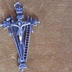 Antigüedades: MAGNIFICA CRUZ DE PLATA DE LEY ANTIGUA BUEN TAMAÑO 10CM. Lote 286663093