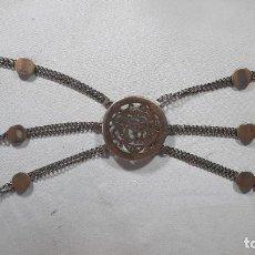 Antigüedades: HEBILLA DE GAUCHO EN PLATA DE LEY DORADA SIGLO XIX 170GR, RASTRA. Lote 286665868