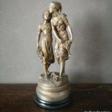 Antiguidades: ANTIGUO CONJUNTO ESCULTORICO DE ESTILO ROMANTICO FIGURAS DE MUJER EN PELTRE DORADO FRANCIA S XIX. Lote 286691828