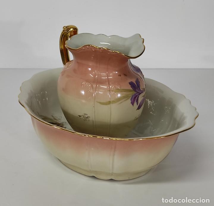 Antigüedades: Bonita Jofaina - Palangana y Jarra - Sello W.G & CO Porcelana Limoges, Francia - Principios S. XX - Foto 4 - 286695833