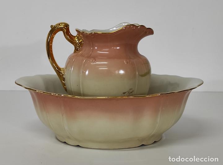 Antigüedades: Bonita Jofaina - Palangana y Jarra - Sello W.G & CO Porcelana Limoges, Francia - Principios S. XX - Foto 5 - 286695833
