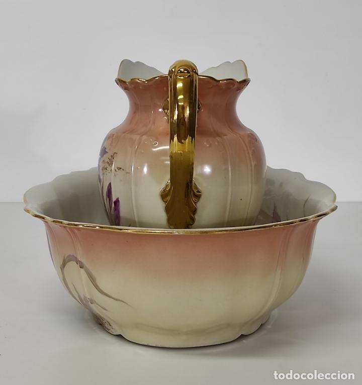 Antigüedades: Bonita Jofaina - Palangana y Jarra - Sello W.G & CO Porcelana Limoges, Francia - Principios S. XX - Foto 6 - 286695833