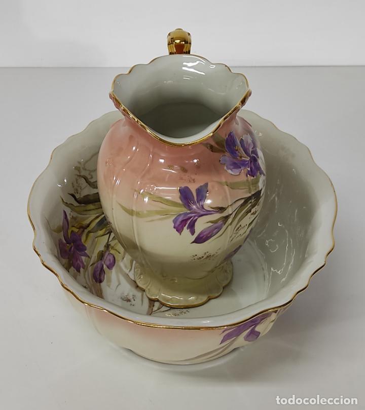 Antigüedades: Bonita Jofaina - Palangana y Jarra - Sello W.G & CO Porcelana Limoges, Francia - Principios S. XX - Foto 7 - 286695833