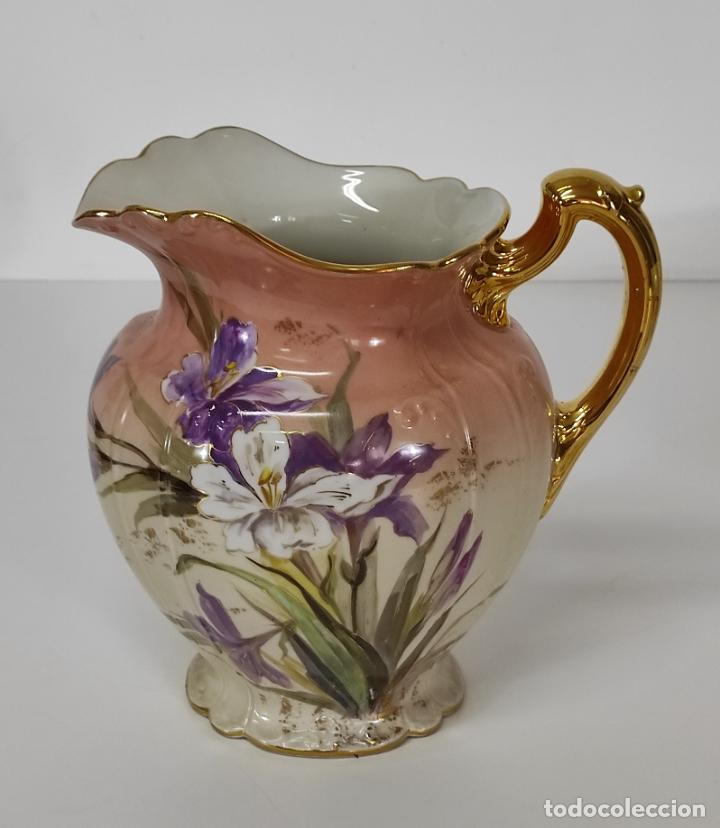 Antigüedades: Bonita Jofaina - Palangana y Jarra - Sello W.G & CO Porcelana Limoges, Francia - Principios S. XX - Foto 12 - 286695833
