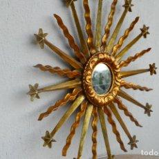 Antigüedades: ANTIGUO RESPLANDOR, ESPEJO SOL, TALLA DE MADERA POLÍCROMADA. Lote 286740068