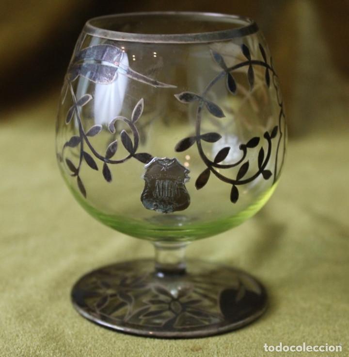 Antigüedades: Tres copas de cognac Alba, vidrio decorado con plata de Ley, 9cm de altura - Foto 3 - 286801873