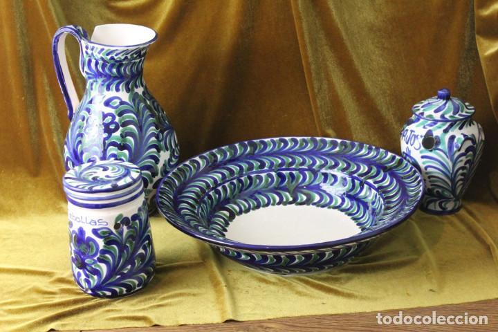 LEBRILLO 42 CM, JARRA, Y TARROS DE CERÁMICA DE FAJALAUZA (Antigüedades - Porcelanas y Cerámicas - Fajalauza)
