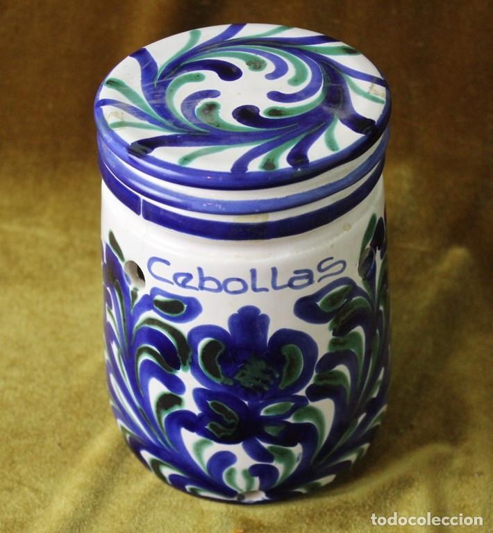 Antigüedades: Lebrillo 42 cm, jarra, y tarros de cerámica de Fajalauza - Foto 6 - 286810968