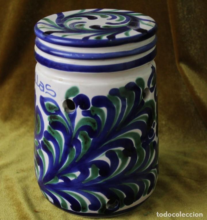 Antigüedades: Lebrillo 42 cm, jarra, y tarros de cerámica de Fajalauza - Foto 8 - 286810968