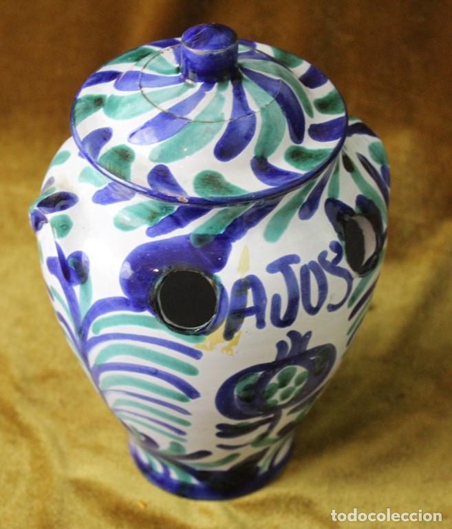 Antigüedades: Lebrillo 42 cm, jarra, y tarros de cerámica de Fajalauza - Foto 9 - 286810968