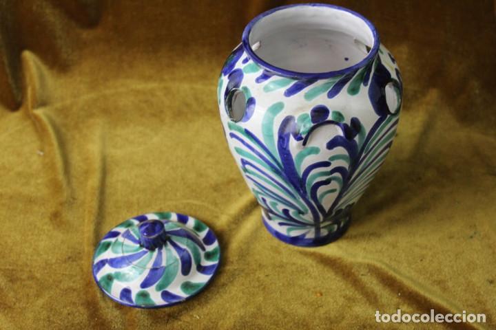 Antigüedades: Lebrillo 42 cm, jarra, y tarros de cerámica de Fajalauza - Foto 10 - 286810968