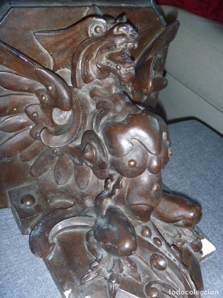 GRAN MÉNSULA PEANA DRAGÓN ALADO 150 AÑOS ESTILO HARRY POTTER DRAGÓN WIKI (Antigüedades - Muebles Antiguos - Repisas Antiguas)