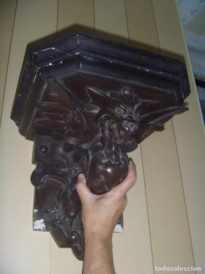 Antigüedades: GRAN MÉNSULA PEANA DRAGÓN ALADO 150 AÑOS ESTILO HARRY POTTER DRAGÓN WIKI - Foto 2 - 286828598
