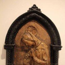 Antigüedades: ANTIGUO RETABLO CON BENDITERA, VIRGEN, AVE MARIA. ALBACETE 1931. 65X53CM. Lote 286831368