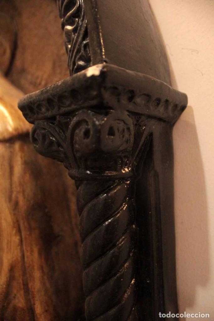 Antigüedades: Antiguo retablo con benditera, virgen, ave maria. Albacete 1931. 65x53cm - Foto 13 - 286831368
