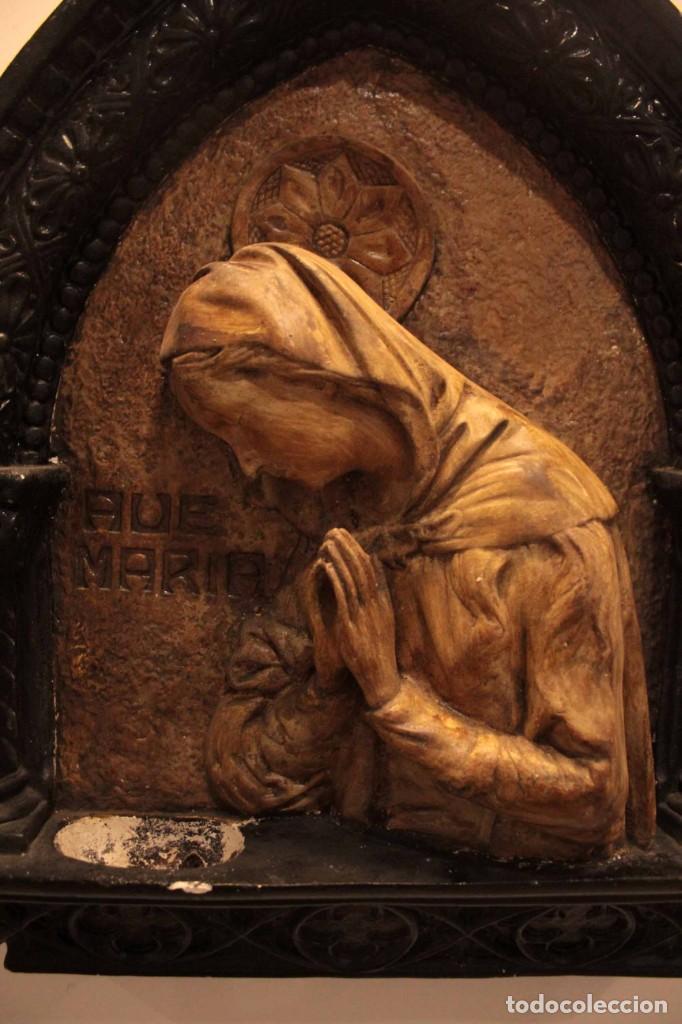 Antigüedades: Antiguo retablo con benditera, virgen, ave maria. Albacete 1931. 65x53cm - Foto 15 - 286831368