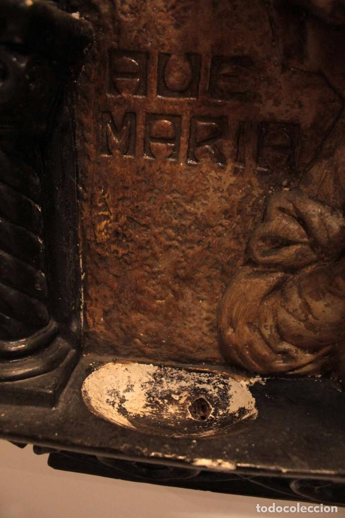 Antigüedades: Antiguo retablo con benditera, virgen, ave maria. Albacete 1931. 65x53cm - Foto 17 - 286831368