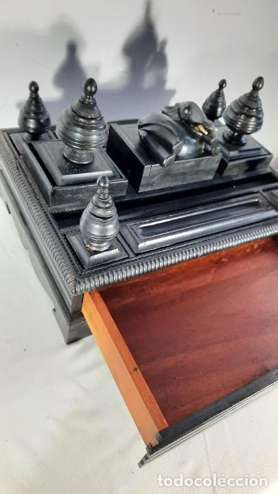 ESCRIBANIA EN MADERA DE EBANO COLONIAL ANGLO-INDIA MEDIADOS XIX (Antigüedades - Muebles Antiguos - Escritorios Antiguos)