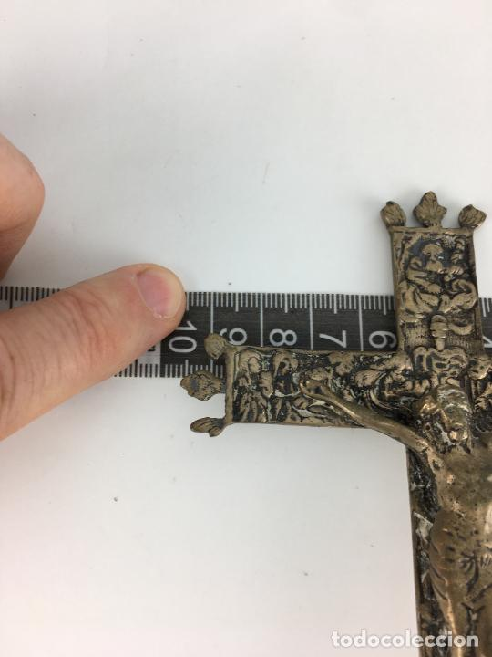 Antigüedades: fantastico crucifijo en plata de ley marcado y punzonado 130 gramos de plata 17 X 9 CM - Foto 8 - 286891933