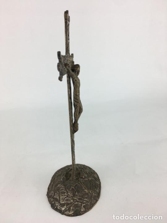 Antigüedades: fantastico crucifijo en plata de ley marcado y punzonado 130 gramos de plata 17 X 9 CM - Foto 10 - 286891933
