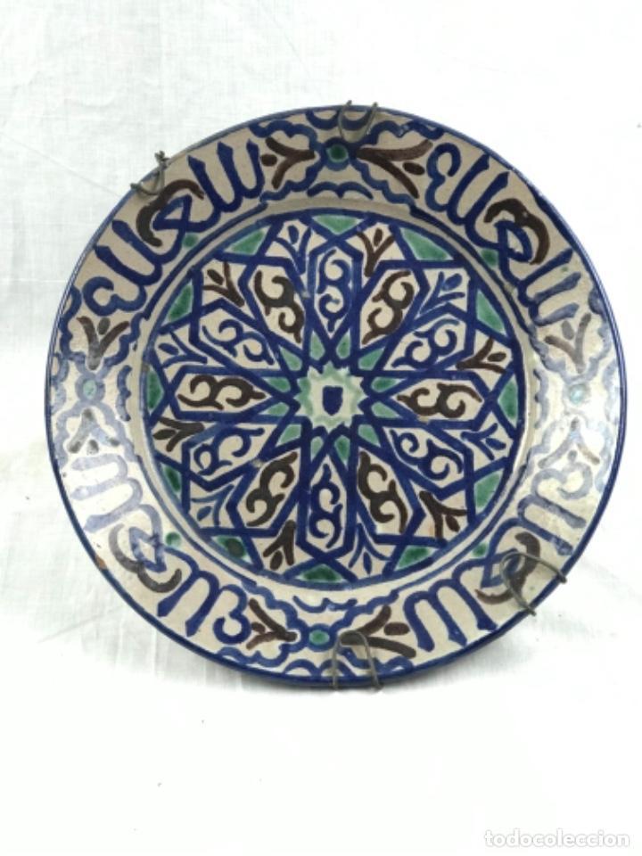 CONSERVADO PLATO ONDO ACUECADO (32 CM ) CERÁMICA DE FAJALAUZA GRANADA PRIN SG XX (Antigüedades - Porcelanas y Cerámicas - Fajalauza)
