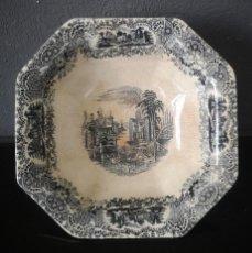 Antiquités: FUENTE DE PORCELANA CARTUJA PICKMAN SERIE VISTA EN NEGRO JARDINES IMAGINARIOS MEDIADOS S XIX. Lote 286950848