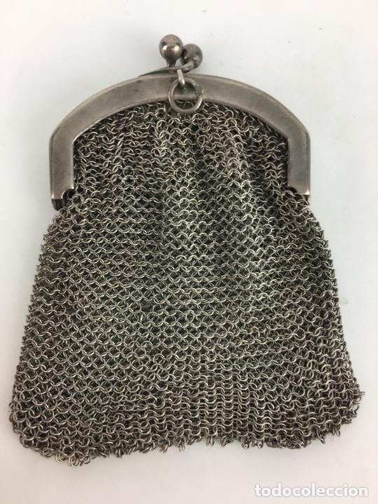 Antigüedades: BOLSO DE MALLA DE PLATA peso 53 gramos - Foto 4 - 287006853