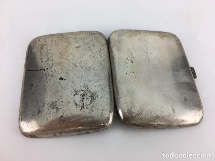 Antigüedades: Pitillera de Plata de ley años 20 - punzonada en el cierre - 72 gramos - Foto 5 - 287006958