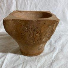 Antiquités: CURIOSO MORTERO DE TEJERÍA EN BARRO POPULAR DE ULLDECONA, TARRAGONA 1955. Lote 287007033