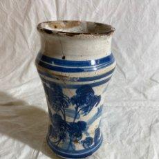 Antigüedades: ALBARELO EN CERÁMICA AZUL DE TERUEL SERIE ESPONJADA, S XVIII. Lote 287007378