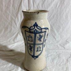 Antigüedades: ALBARELO EN CERÁMICA AZUL DE VILLAFELICHE, HERÁLDICO, S XVIII. Lote 287007663