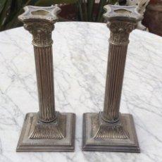 Oggetti Antichi: CANDELABROS DE METAL PLATEADO. Lote 287026358