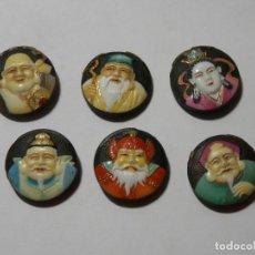 Antigüedades: 6 BOTONES DE PORCELANA, TOSHIKANE. ORIGINALES, JAPON, DIOSES DE LA FORTUNA. Lote 287055583