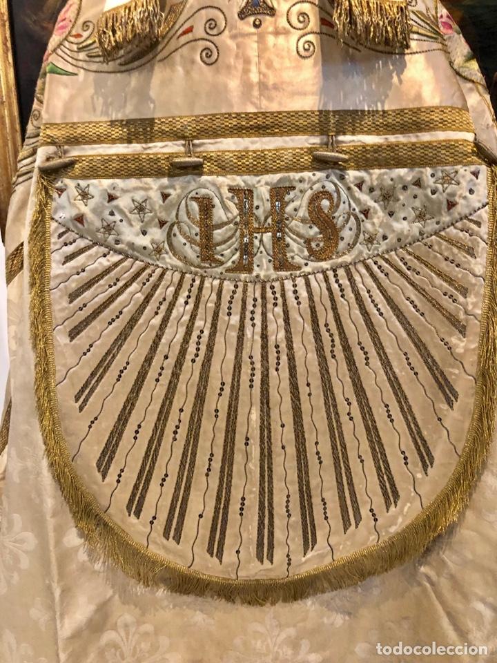 Antigüedades: Capa pluvial en seda blanca. Bordados. Siglo XIX. Flor de lis. - Foto 6 - 287141878