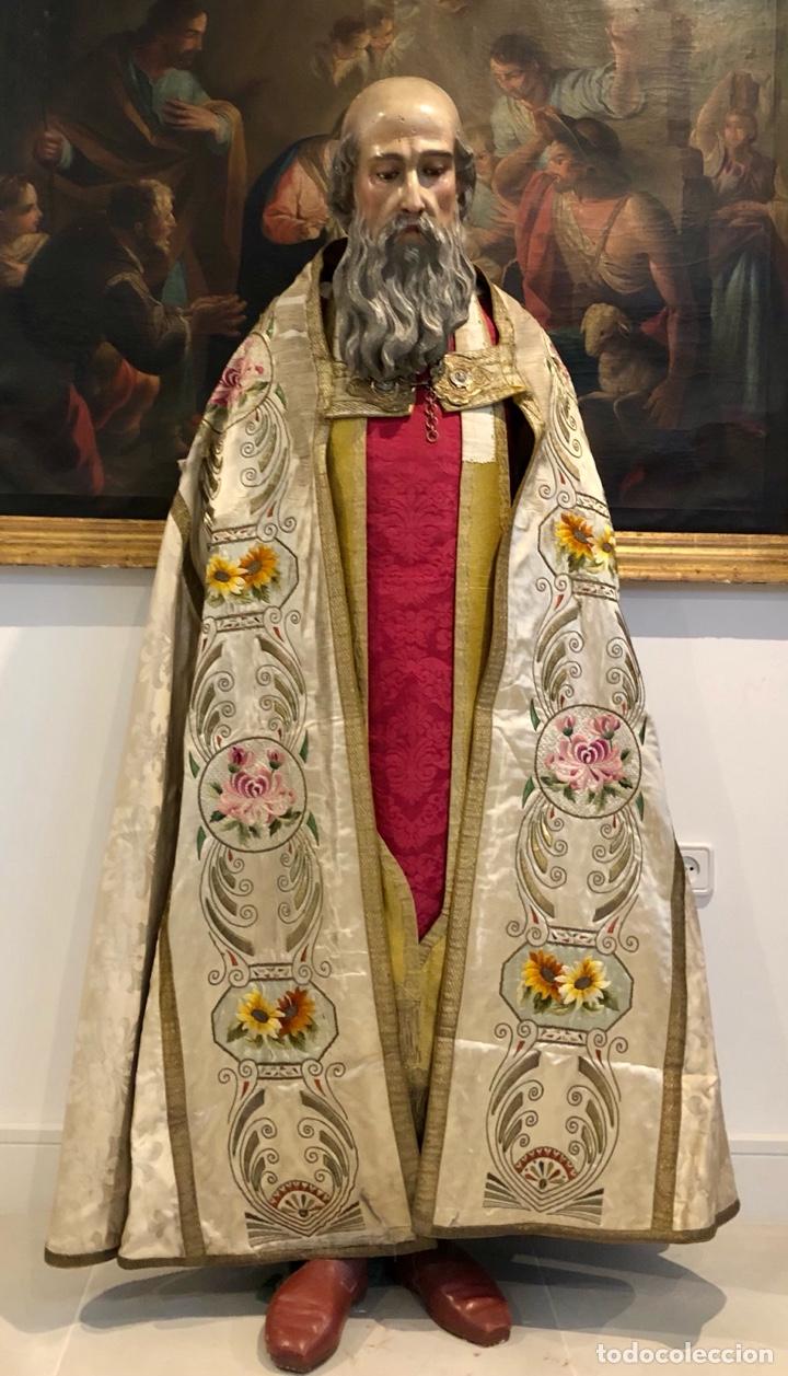 Antigüedades: Capa pluvial en seda blanca. Bordados. Siglo XIX. Flor de lis. - Foto 22 - 287141878