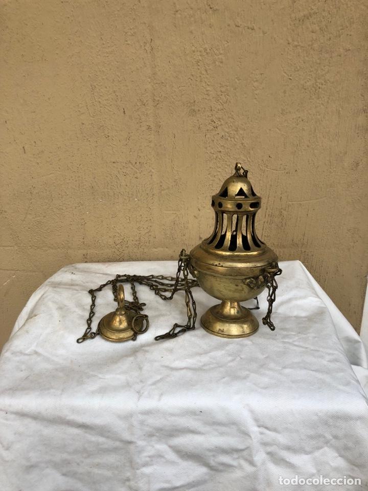 Antigüedades: ANTIGUO BOTAFUMEIRO DE IGLESIA DE BRONCE ORIGINAL. VER FOTOS - Foto 3 - 287252993