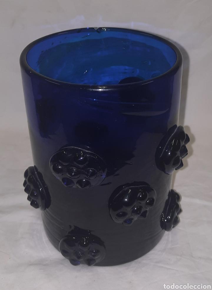 Antigüedades: Vaso de cristal Mallorquin azul cobalto - Foto 2 - 287265958