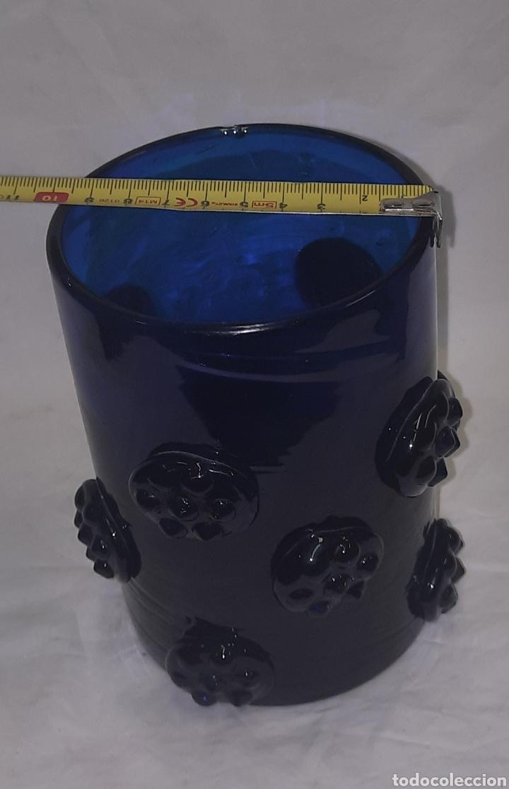 Antigüedades: Vaso de cristal Mallorquin azul cobalto - Foto 4 - 287265958