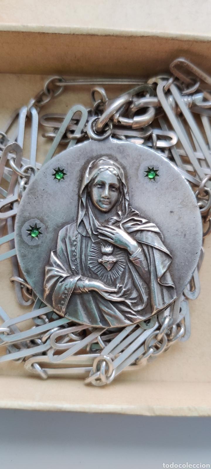 MEDALLA Y CADENA DE PLATA ANTIGUA SAGRADO CORAZÓN DE MARÍA (Antigüedades - Religiosas - Medallas Antiguas)