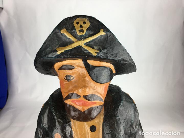 Antigüedades: antigua pirata gran figura de carton piedra - Foto 5 - 287361023