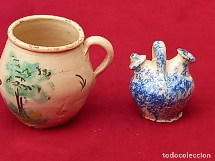 Antigüedades: JARRA Y BOTIJO PEQUEÑOS EN CERAMICA DE PUENTE DEL ARZOBISPO ( TOLEDO ) - Foto 2 - 287372873
