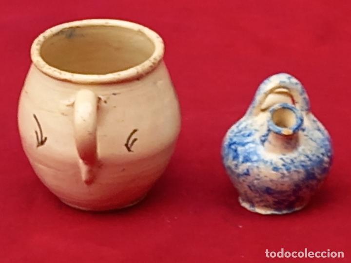 Antigüedades: JARRA Y BOTIJO PEQUEÑOS EN CERAMICA DE PUENTE DEL ARZOBISPO ( TOLEDO ) - Foto 3 - 287372873