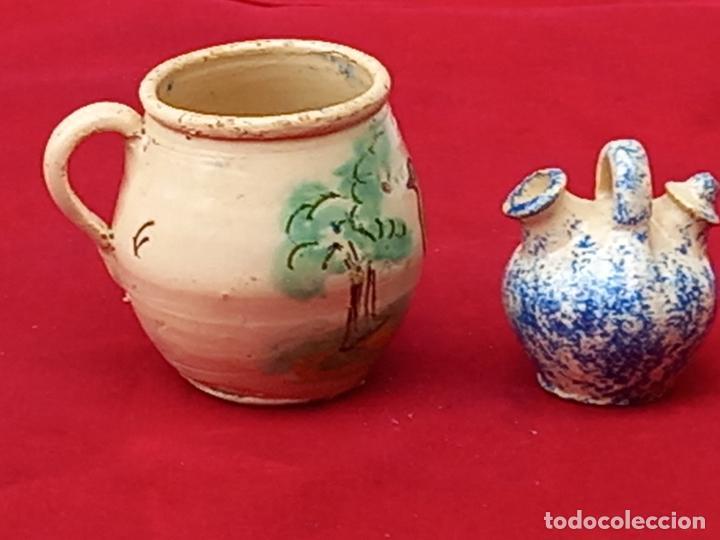 Antigüedades: JARRA Y BOTIJO PEQUEÑOS EN CERAMICA DE PUENTE DEL ARZOBISPO ( TOLEDO ) - Foto 4 - 287372873