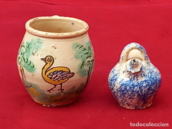 JARRA Y BOTIJO PEQUEÑOS EN CERAMICA DE PUENTE DEL ARZOBISPO ( TOLEDO ) (Antigüedades - Porcelanas y Cerámicas - Puente del Arzobispo )