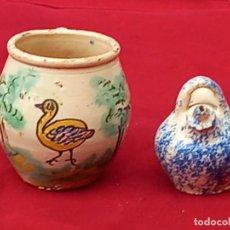 Antigüedades: JARRA Y BOTIJO PEQUEÑOS EN CERAMICA DE PUENTE DEL ARZOBISPO ( TOLEDO ). Lote 287372873