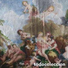 Antigüedades: TELA BORDADA EN PUNTO DE CRUZ EL RAPTO DE EUROPA DE FRANCOIS BOUCHER. PARA ENMARCAR. Lote 287409188