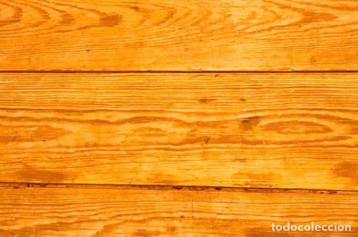 Antigüedades: Mesa de madera pino plegable para terraza. Pies lacados rosa claro. - Foto 7 - 287430613