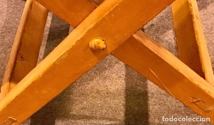 Antigüedades: Mesa de madera pino plegable para terraza. Pies lacados rosa claro. - Foto 8 - 287430613