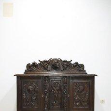 Antigüedades: APARADOR ANTIGUO DE MADERA TALLADA ESTILO RENACIMIENTO ESPAÑOL. Lote 287457548