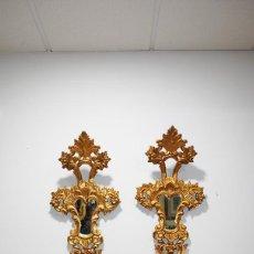 Antigüedades: ESPEJOS ANTIGUOS TALLADOS CORNUCOPIAS DORADAS. Lote 287459103